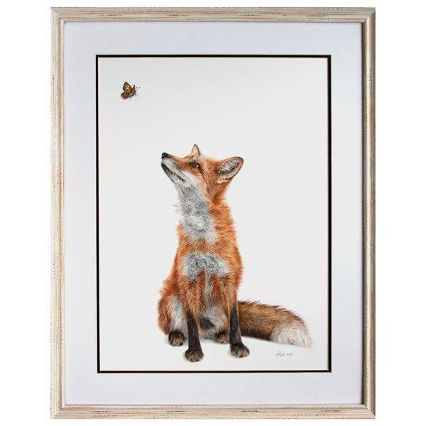 Fluttering Heights Fox Portrait in White Frame