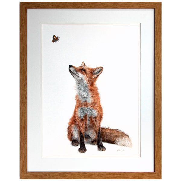 Fluttering Heights Fox Portrait in Oak Frame