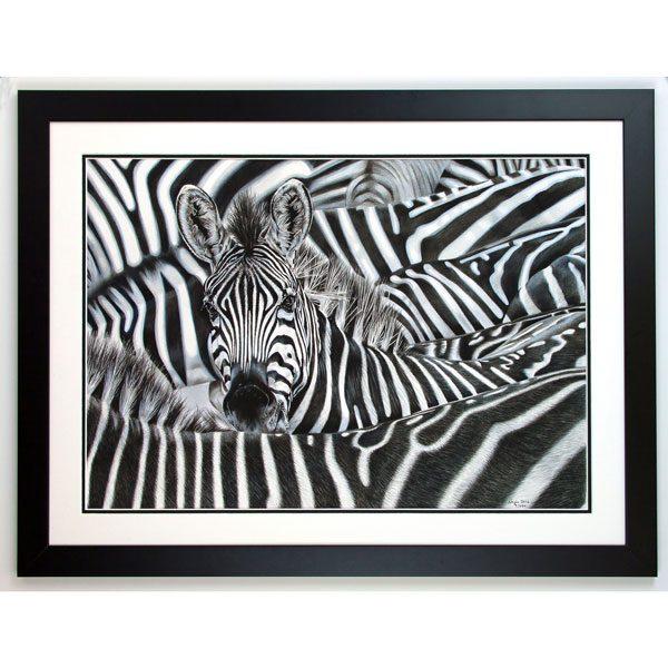 Lost in a Crowd Framed Zebra Portrait