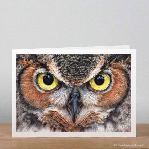 A Thousand Yard Stare Eagle Owl greeting card by wildlife artist Angie