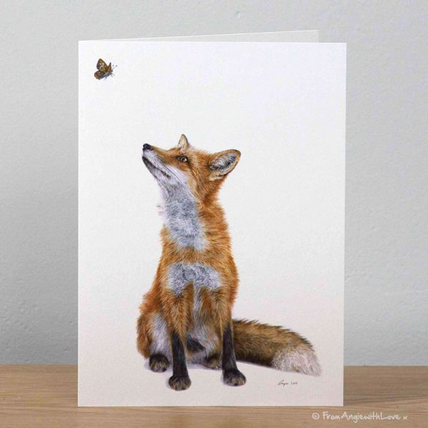 Fluttering Heights Red Fox Greeting Card by Pencil artist Angie