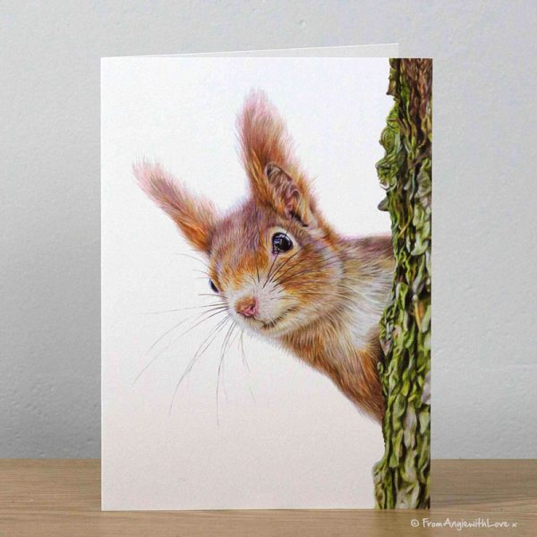 Red Alert Red Squirrel Greeting Card by Pencil artist Angie