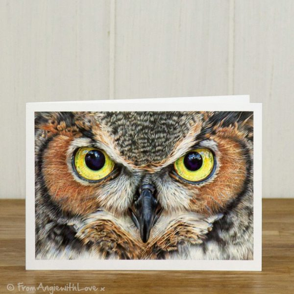 A Thousand Yard Stare Eagle Owl Greeting Card