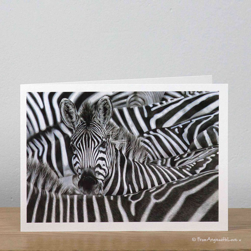 Lost in a Crowd Zebra greeting card by wildlife artist Angie