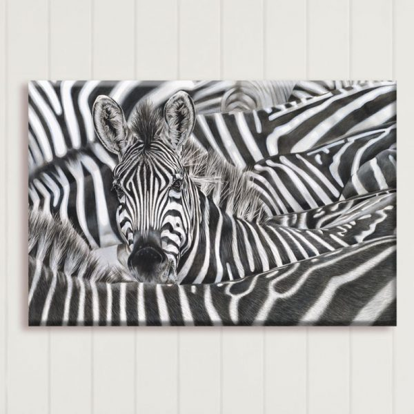 Lost in a Crowd - Limited Edition Zebra Portrait Canvas Print