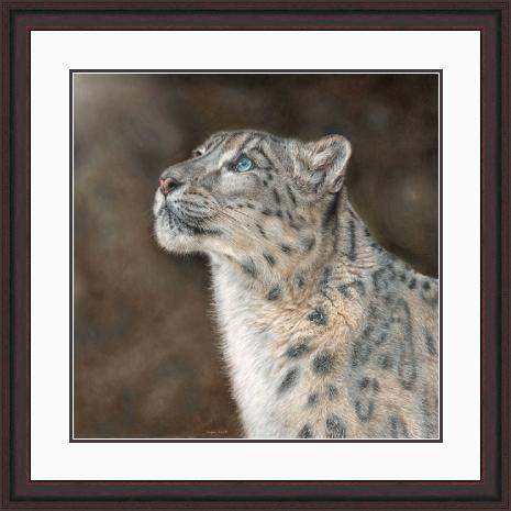 Mountain Spirit Snow Leopard Portrait in Mahogany Frame