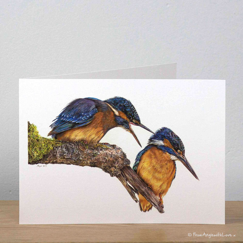 Domestic Bliss Kingfishers Greeting Card by Pencil artist Angie