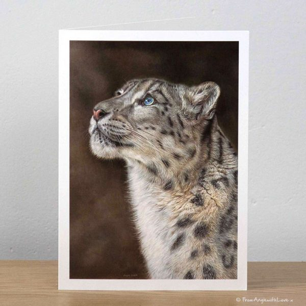 Mountain Spirit Snow Leopard Greeting Card by Pencil artist Angie