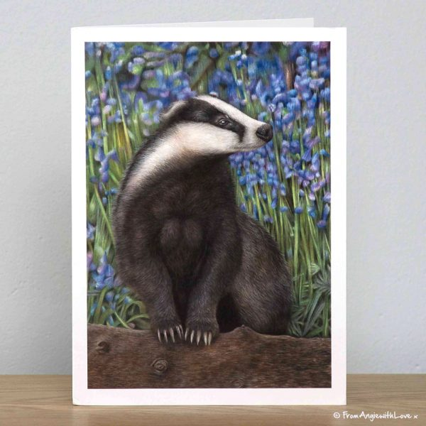Bluebell Wood Badger greeting card by wildlife artist Angie