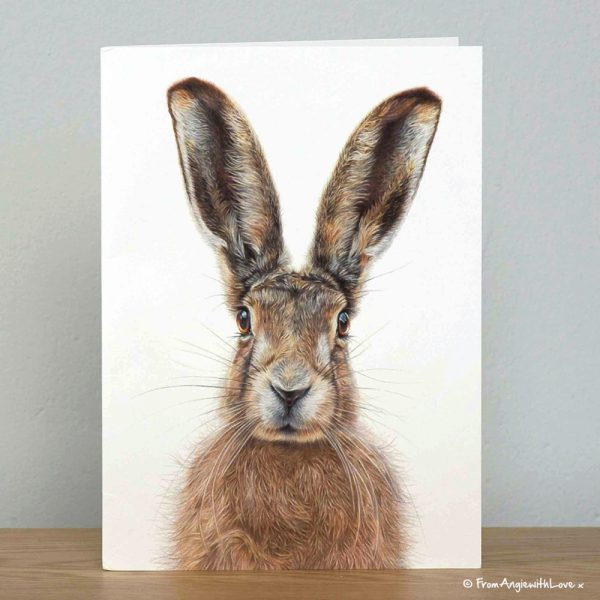 Mr Brambles Brown Hare Greeting Card by Pencil artist Angie