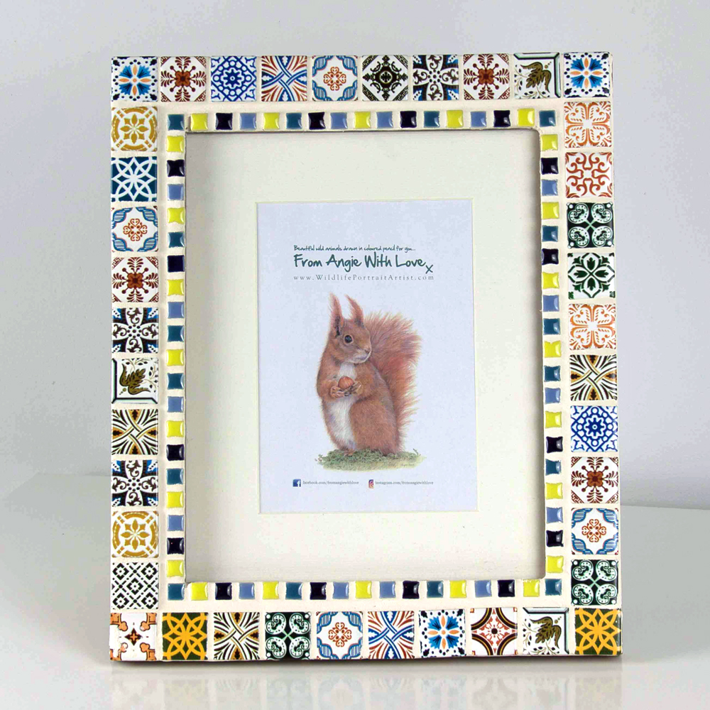 Mosaic picture frame by artist Angie