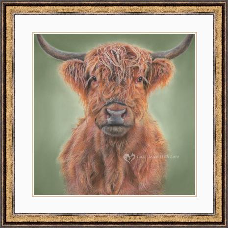 'Hamish' Highland Cow Portrait in Gold Pewter Frame