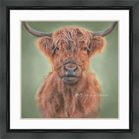 'Hamish' Highland Cow Portrait in a Black Frame