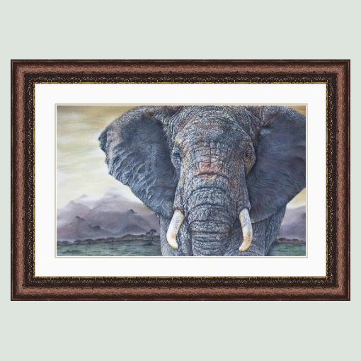 'Tembo' African Elephant Portrait in a bronze Colour Frame.