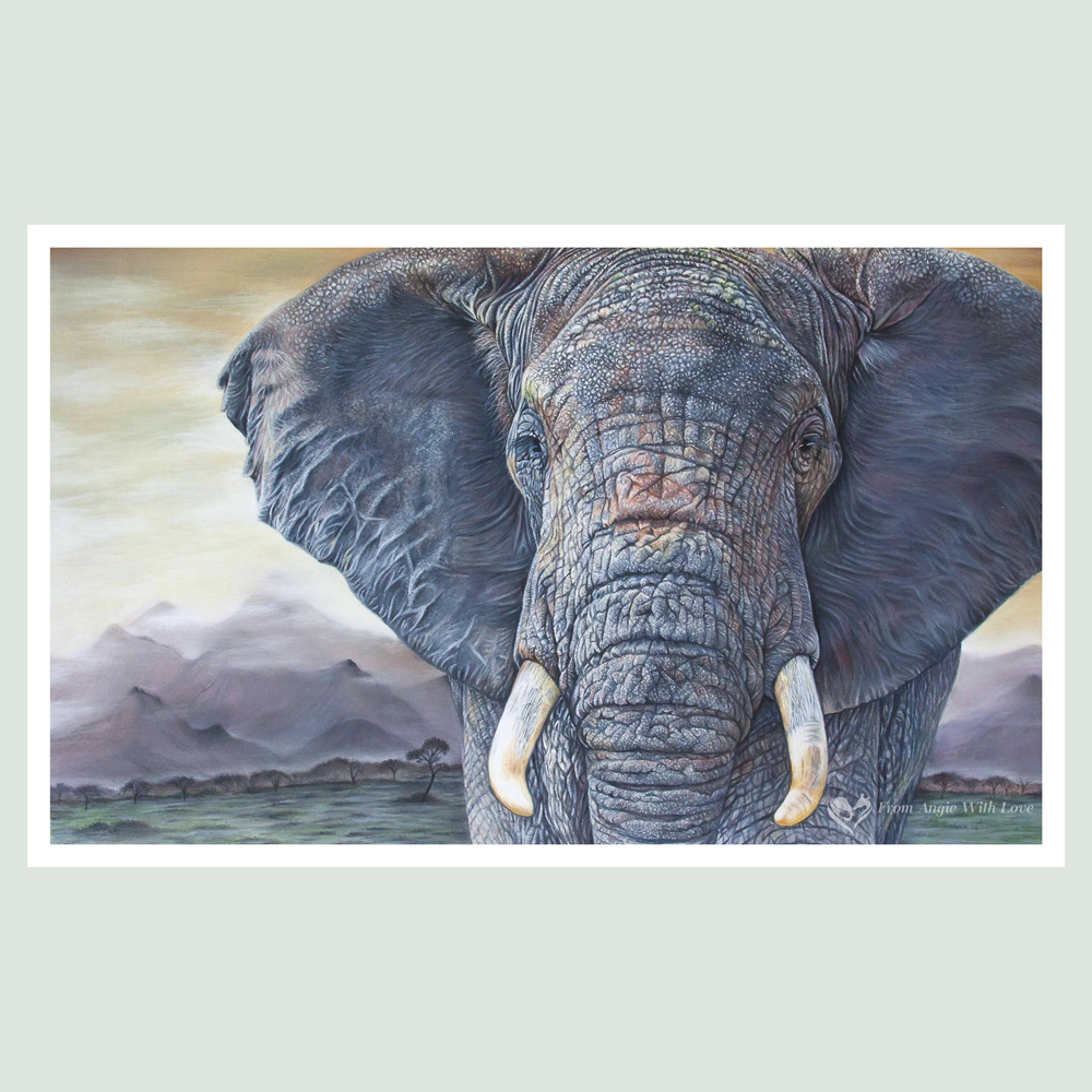 Tembo - African Elephant Portrait by Wildlife Artist Angie
