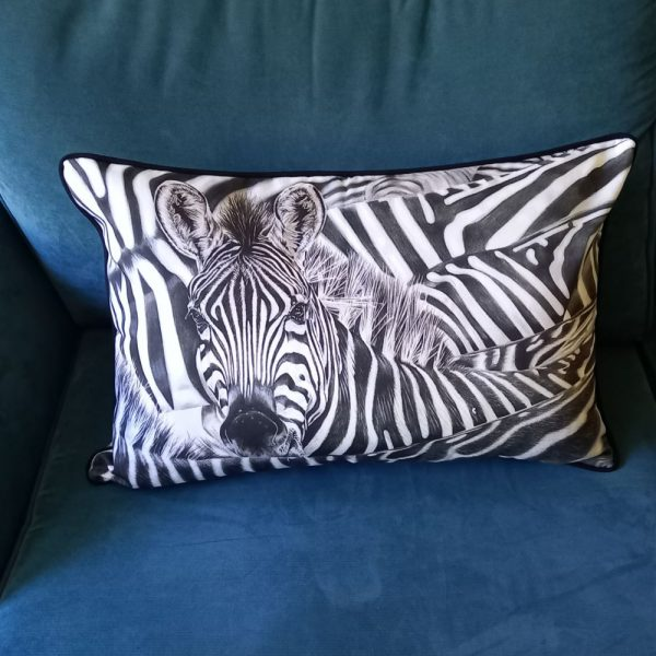 Art for your sofa! Lost in a crowd Zebra portrait cushion
