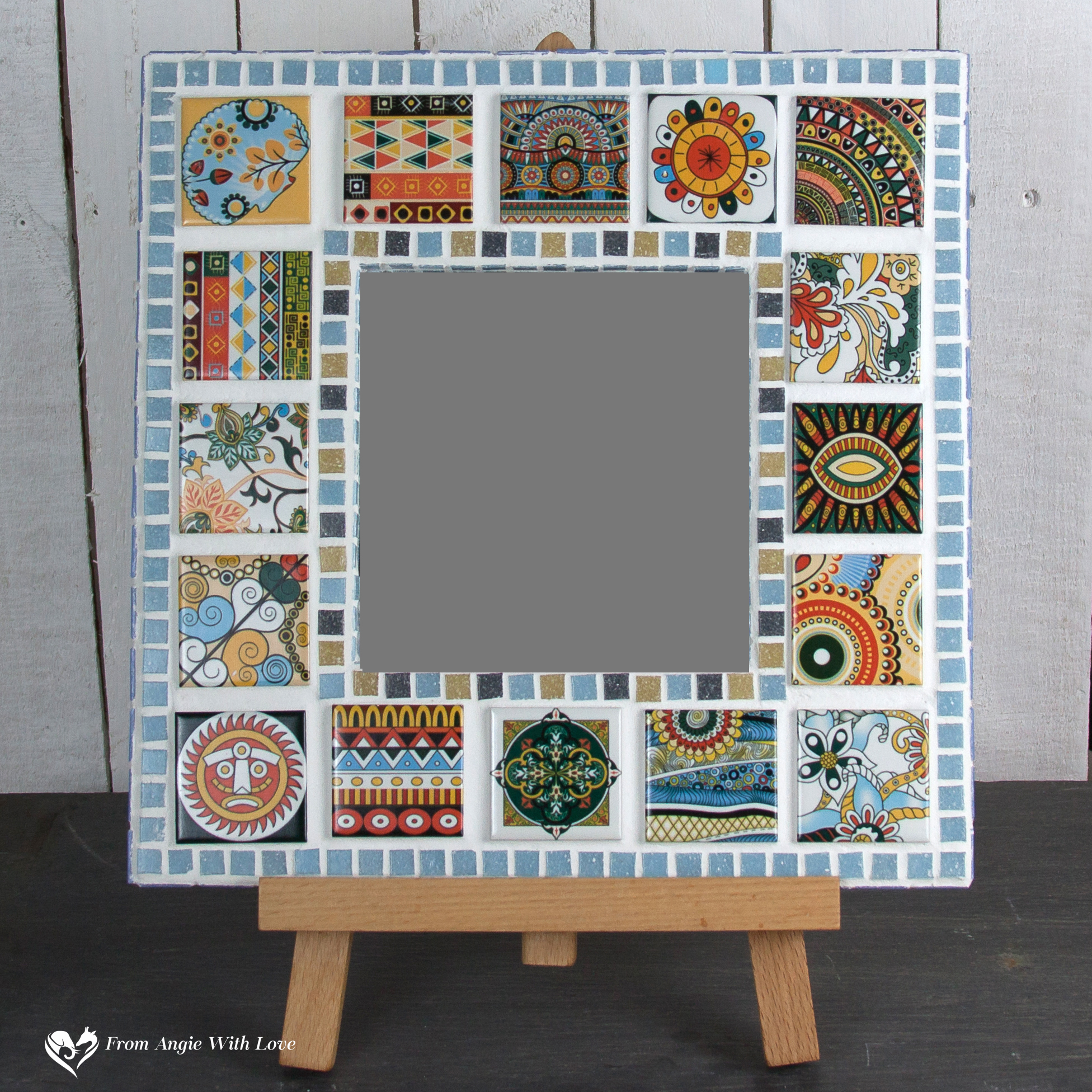Hand-decorated mosaic mirror with Moroccan-style tiles
