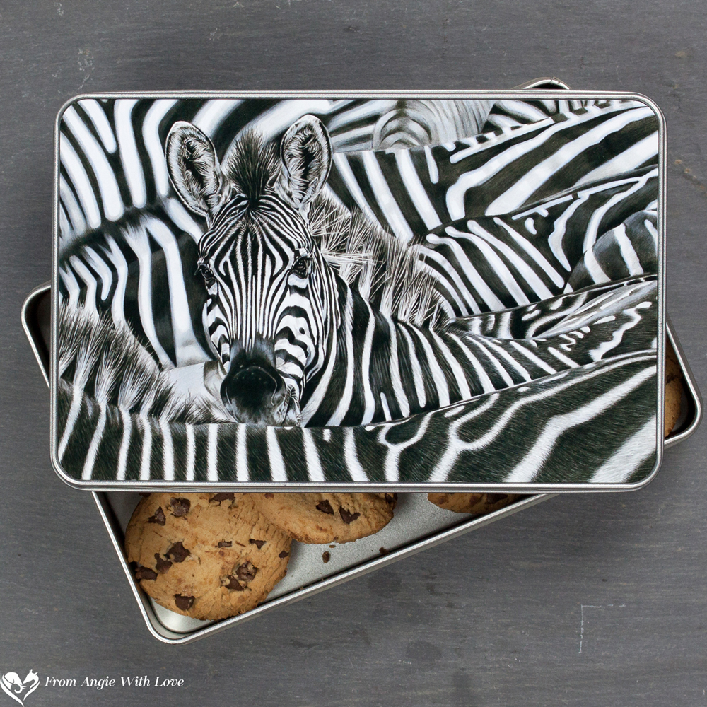 Zebra Biscuit Tin - Lost in a Crowd